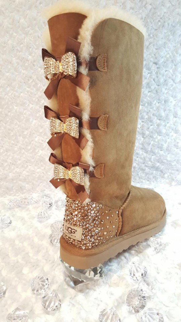 shoes  boots  ugg boots  diamonds  lace up  brown  soft