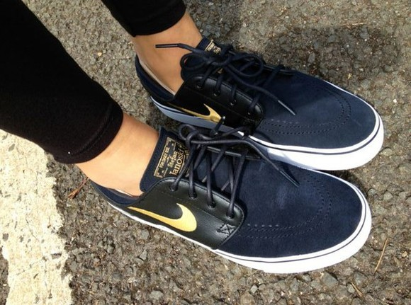 shoes nike sport black janoski leather gold darkblue