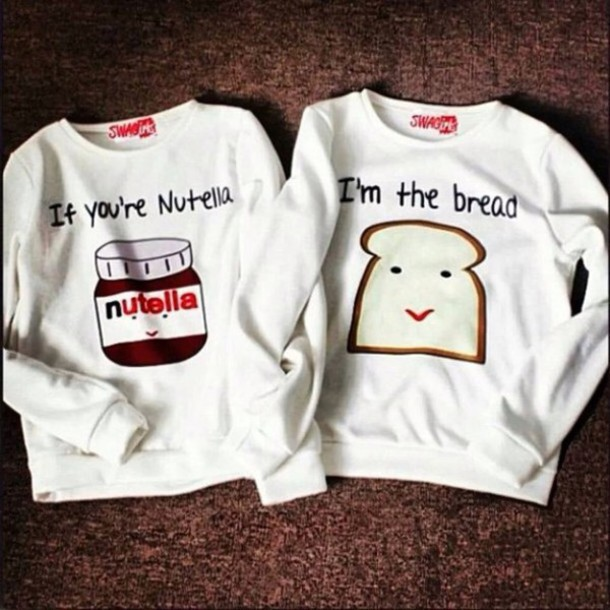 sweater couple sweaters nutella food