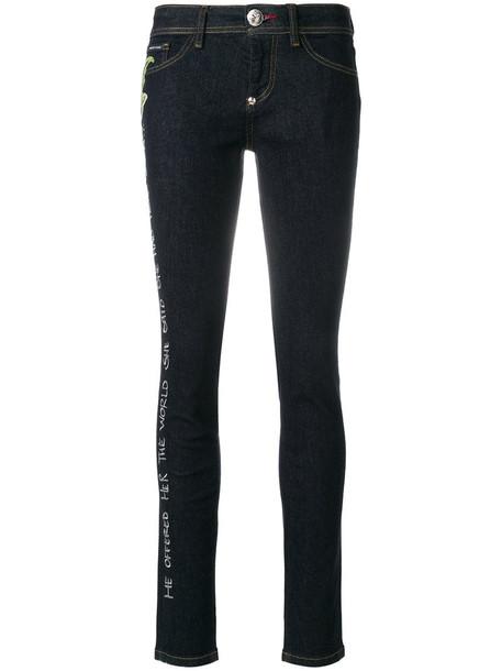 PHILIPP PLEIN jeans rose women spandex embellished cotton blue