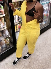 jumpsuit,coveralls,overalls,yellow