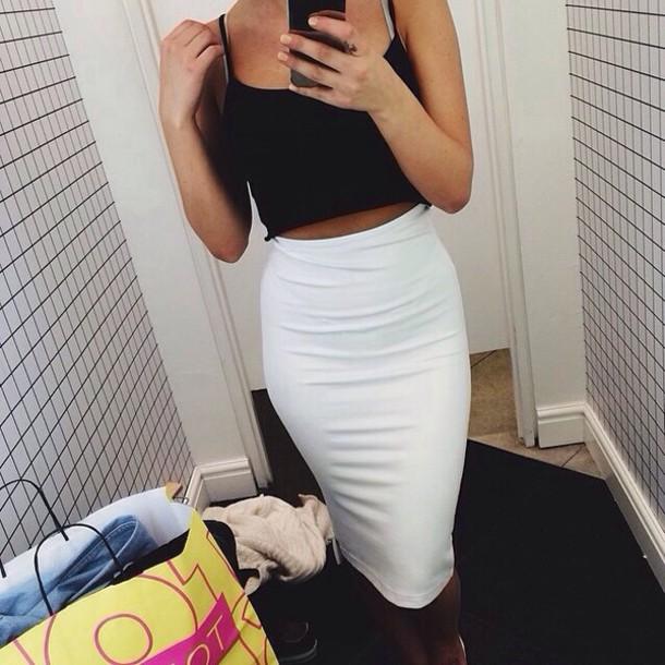 skirt pencil skirt white skirt long skirt long knee length white