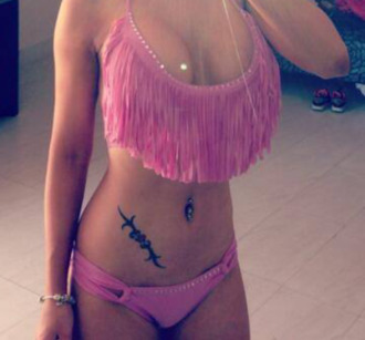 swimwear pink bikini tassel low cut tank