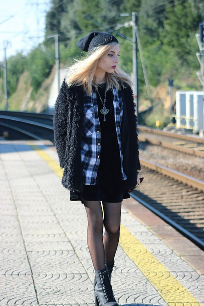 the black effect blogger fuzzy coat black coat flannel shirt coat shirt dress shoes