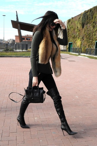 leggings kendall jenner knee high boots fur shoes scarf