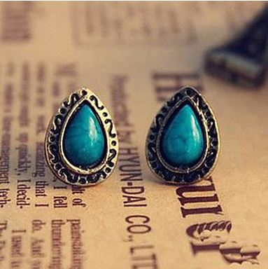 Retro national wind blue pine carved gemstone earrings