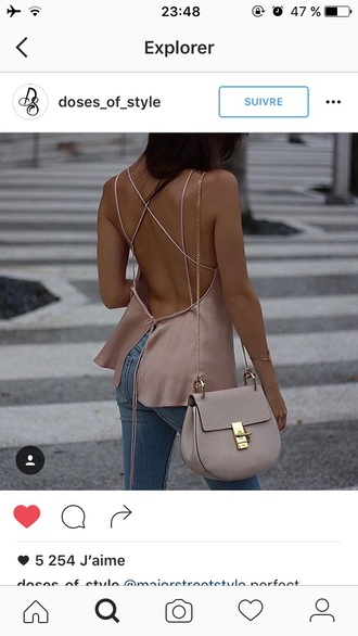 blouse nude top tank top backless silk