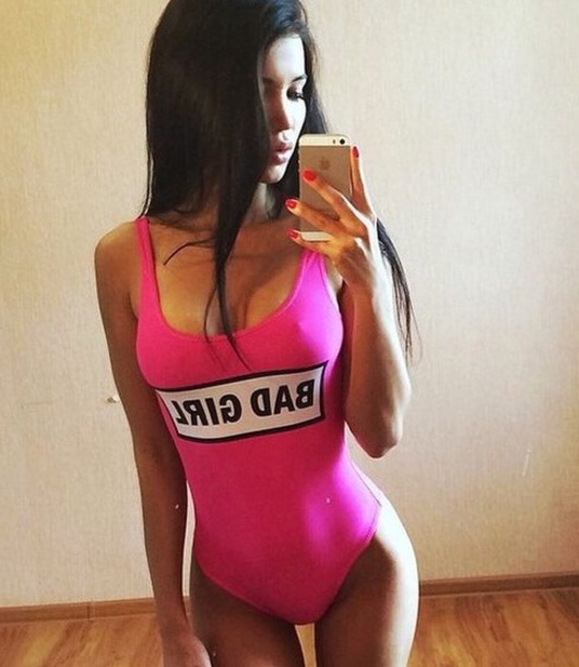 swimwear girly girl pink one piece swimsuit