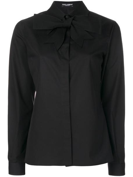 Dolce & Gabbana - classic neck tie shirt - women - Cotton/Acetate - 44, Black, Cotton/Acetate