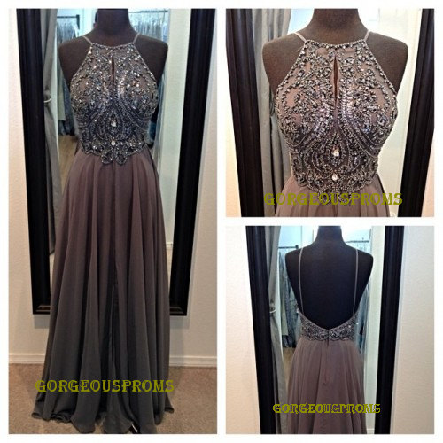 Long grey backless prom dress straps floorlength door gorgeousproms