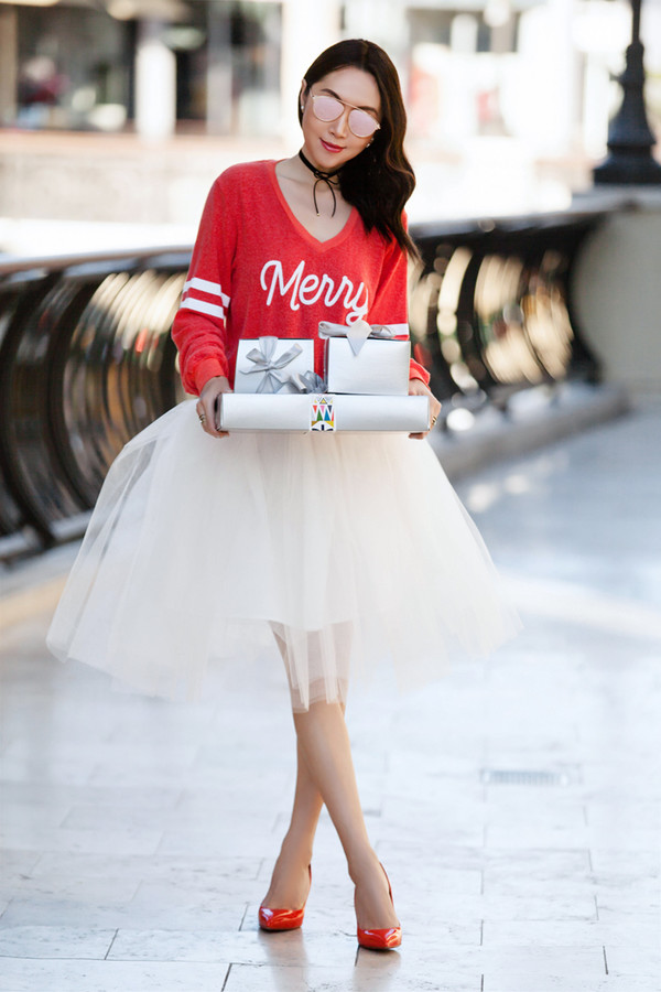 fit fab fun mom blogger sweater skirt shoes sunglasses jacket red sweater tulle skirt high heel pumps red heels