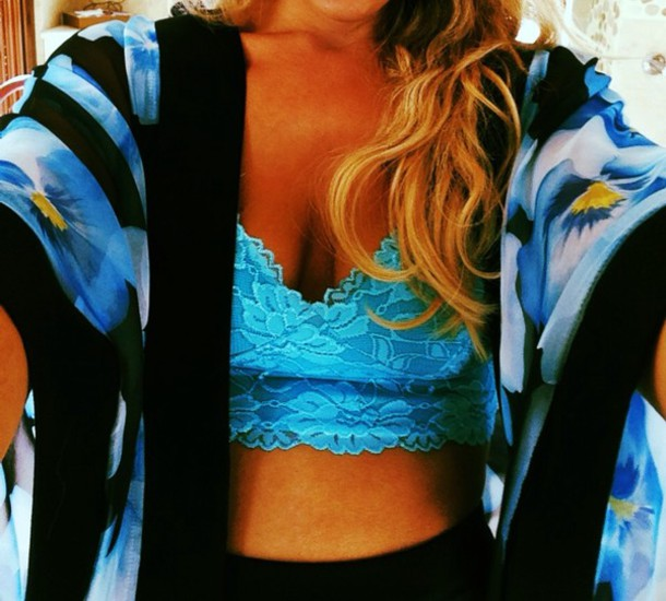 blouse floral kimono blue lace bralette