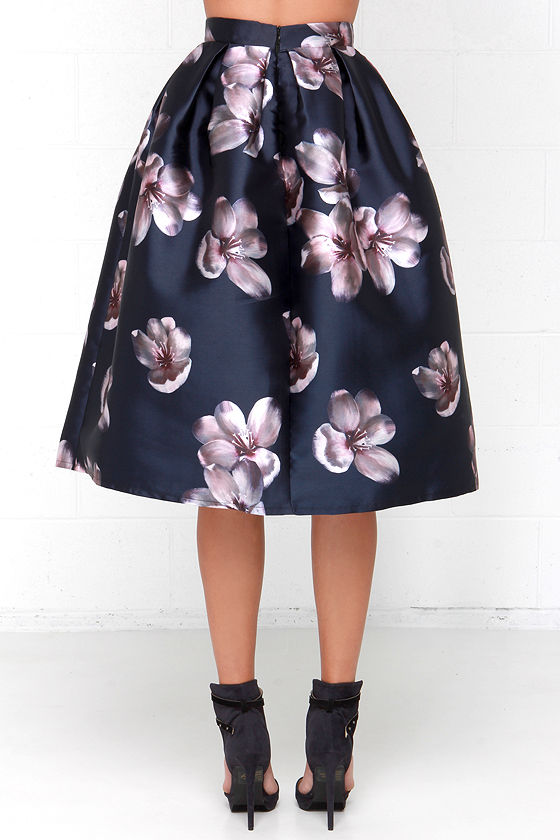 Petal Navy Blue Floral Print Midi Skirt