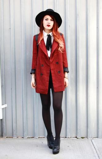 le happy blogger coat romper shoes socks hat red coat