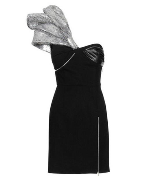 Saint Laurent dress mini dress mini embellished leather wool black