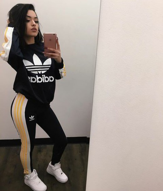 jumpsuit, stvy.goldd, adidas suit, black x white x yellow