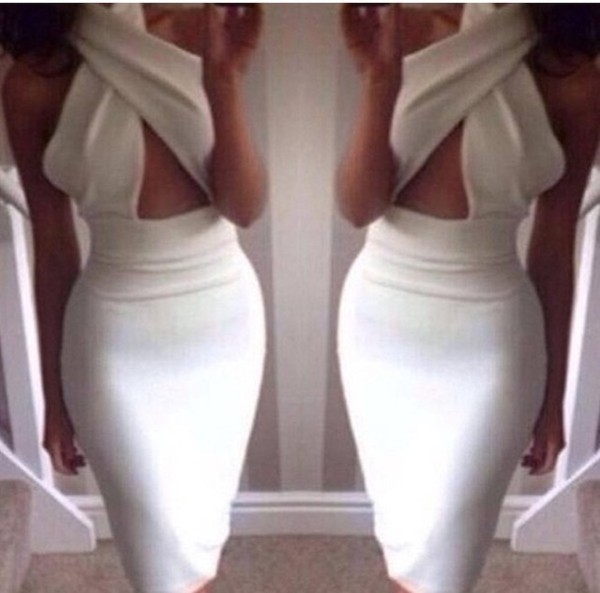 dress sexy dress white dress bodycon dress cross sexy dress waist cut dress bandage dress backless dress bandage dress