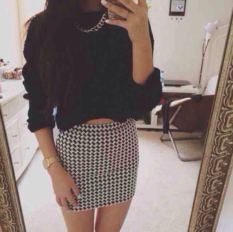shirt sweater cropped sweater skirt summer outfits spring chain watch jewels