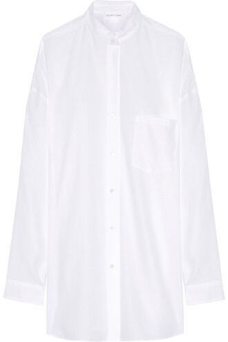 shirt oversized back cotton white top