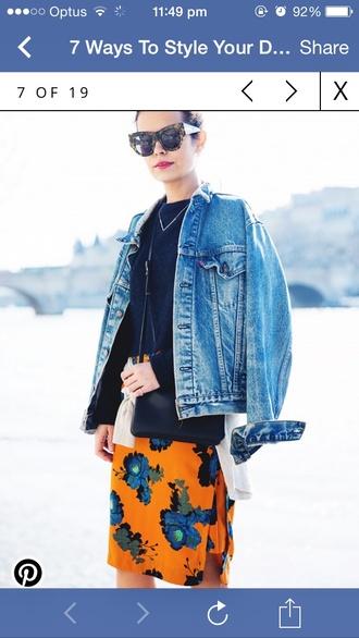 jacket denim jacket skirt flower indie style
