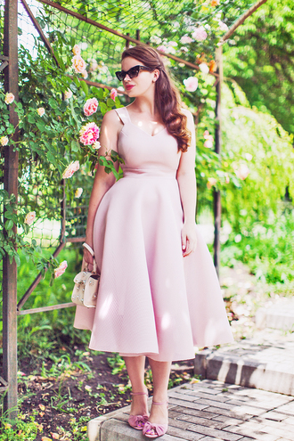 dress tumblr pink dress midi dress sandals sandal heels bag all pink everything all pink wishlist cat eye shoes