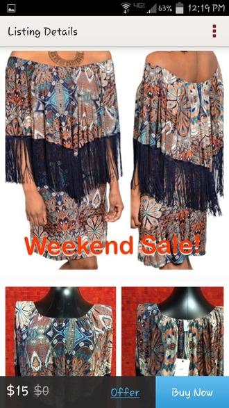dress navy orange fringe boho boho dress vintage vintage dress hippie hippie boho dress boho hippie dress fashion hippie boho gypsy