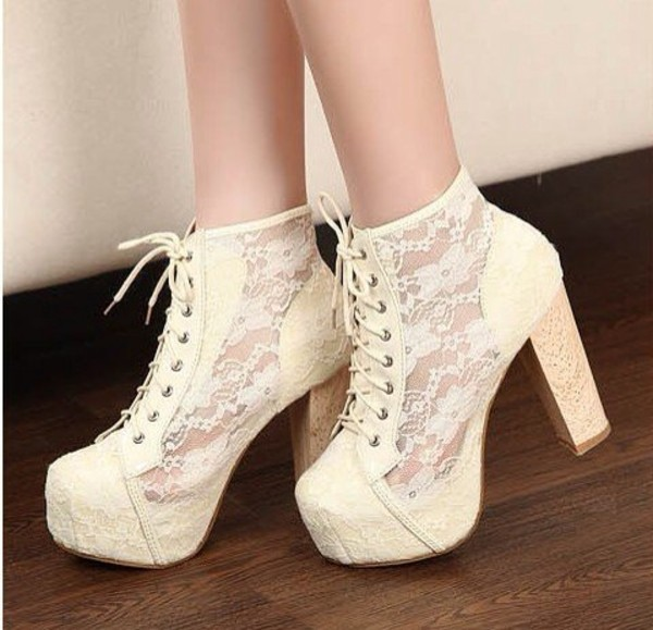 shoes laces high heel jeffrey campbell jeffrey campbell lita lita platform boot platform shoes boots cute girly beige boots boots with laces platform lace up boots lace lace booties white lace heels