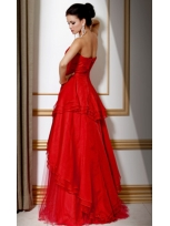 Buy Vintage Red Ball Gown Sweetheart Floor Length Tulle Prom Dress under 200-SinoAnt.com