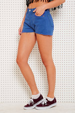 Dyed raw cut shorts in blue at urban outfitters