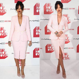pink jacket skirt rihanna sandals