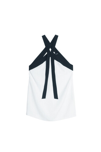 top halter top cross white