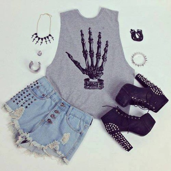 t-shirt bones grunge grey punk rock skeleton tank top cute shoes