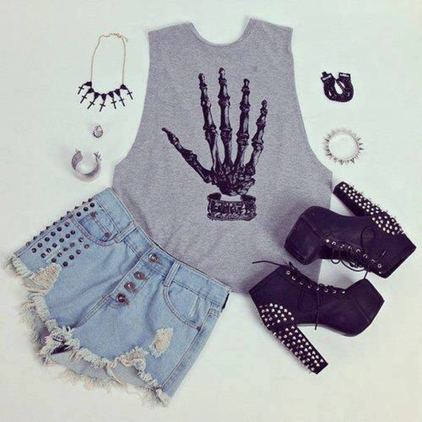 tank top skeleton cute shoes shirt t-shirt grey rock bones grunge punk