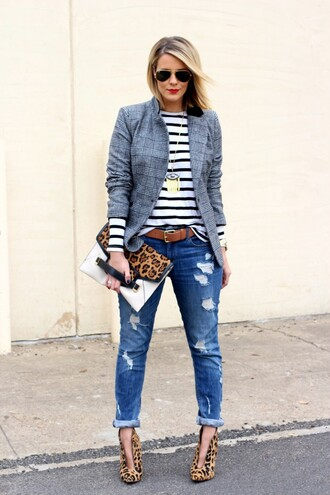 the courtney kerr blogger belt striped sweater aviator sunglasses pouch ripped jeans leopard print high heels