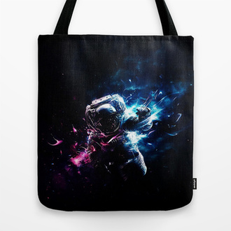 bag science space galaxy print universe tote bag