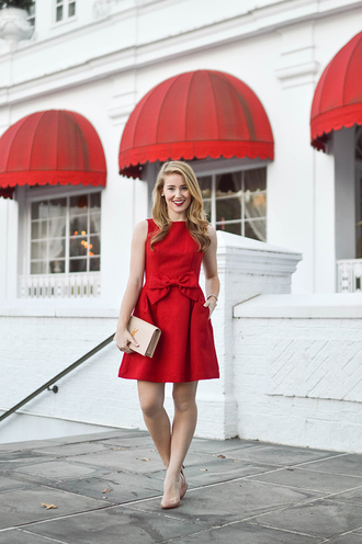 a lonestar state of southern blogger dress bag shoes jewels ysl bag red dress bow dress pumps
