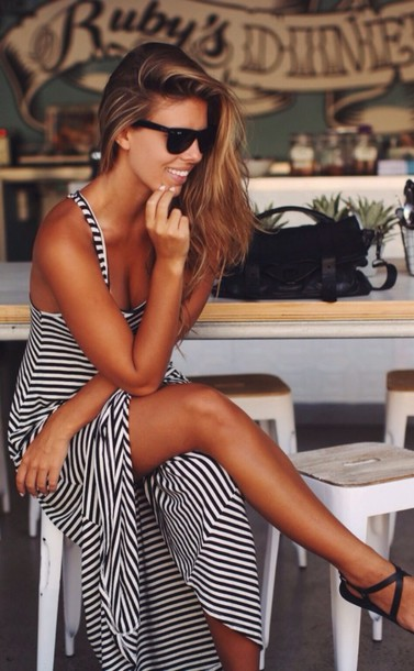 dress shoes maxi dress casual strikes navy summer summer beauty summer holidays stripes striped dress black and white girl