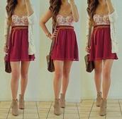 tank top,dress,skirt,flowers,print,belt,celebrity,gorgoeus,red dress,floral,floral bustier,red skirt,pink dress