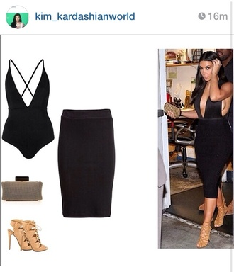 swimwear black kim kardashian leotard
