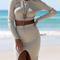 Cream cable v-neck back crop top & split pencil skirt set