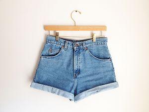 Vintage levi's light med wash high waisted orig cuffed jean denim shorts 26