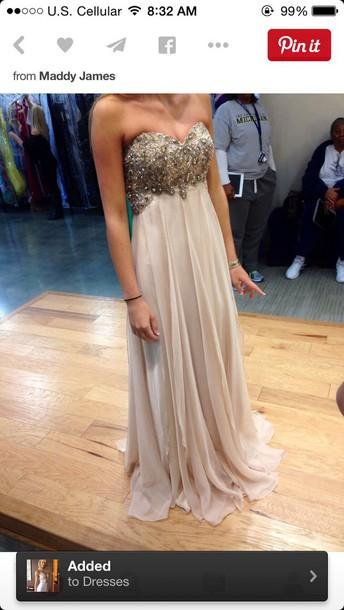 dress flesh colour tan color sparkly dress strapless dress