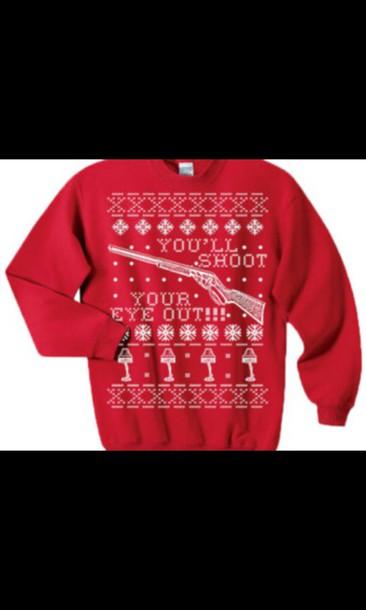 Sweater: christmas story, christmas, gun, shotgun, snow, christmas ...