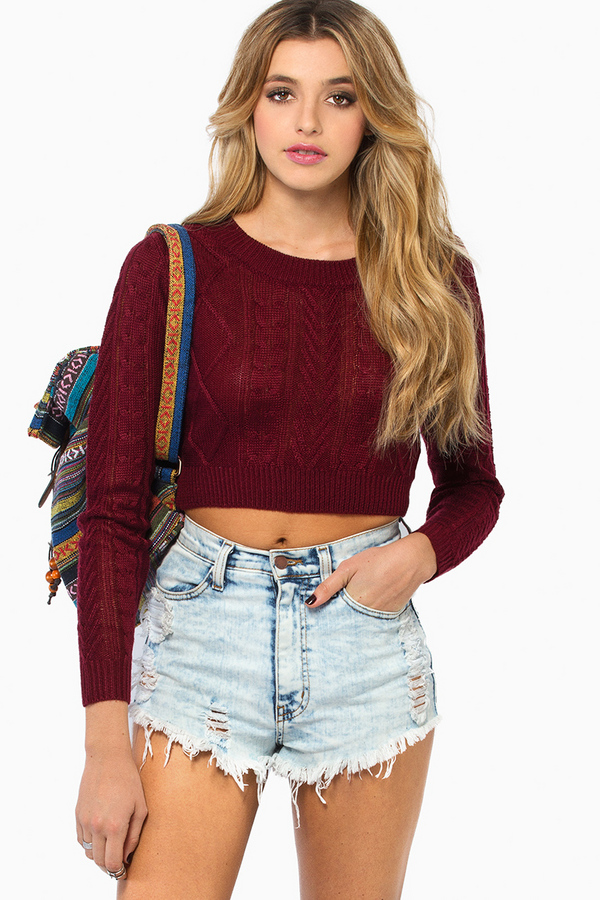 Amy Cropped Sweater - Tobi