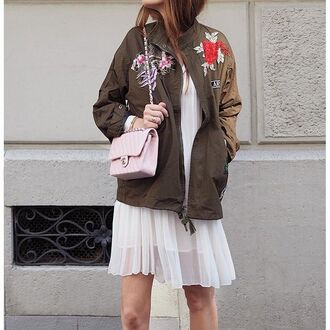 jacket tumblr tumblr outfit army green jacket embroidered jacket embroidered bag chanel chanel bag pink bag dress white dress