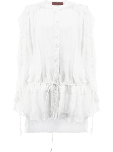 Di Liborio shirt pleated women drawstring white cotton silk top