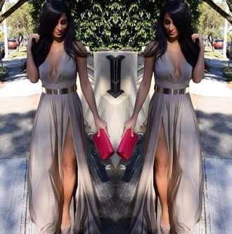 dress maxi dress halter dress slit dress