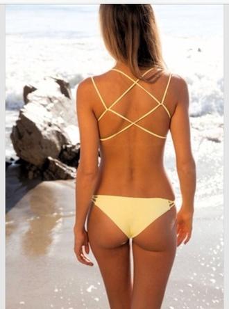 swimwear yellow swimwear lace up