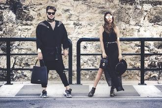 shoes and basics blogger dress bag shoes hat sunglasses pants all black everything black hat black dress handbag