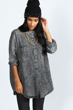 Sarah Acid Wash Oversized Denim Shirt at boohoo.com